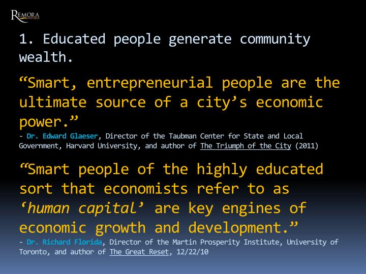 1. Educated people generate