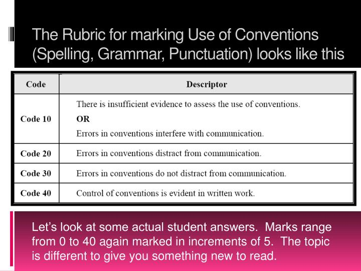 The Rubric for marking Use of Conventions (Spelling, Grammar, Punctuation) looks like this