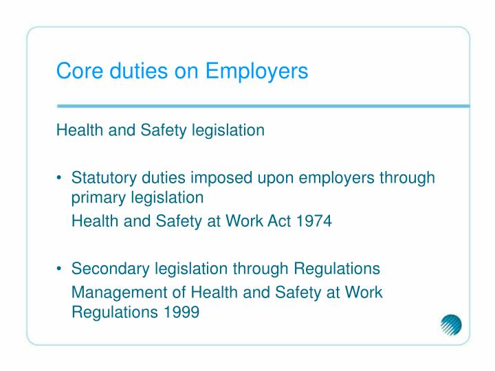 Core duties on Employers