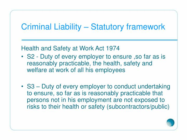 Criminal Liability – Statutory framework