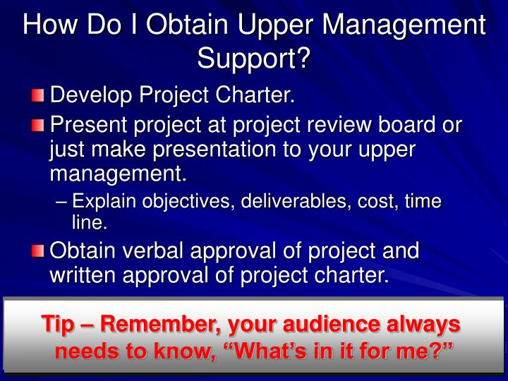 How Do I Obtain Upper Management Support?