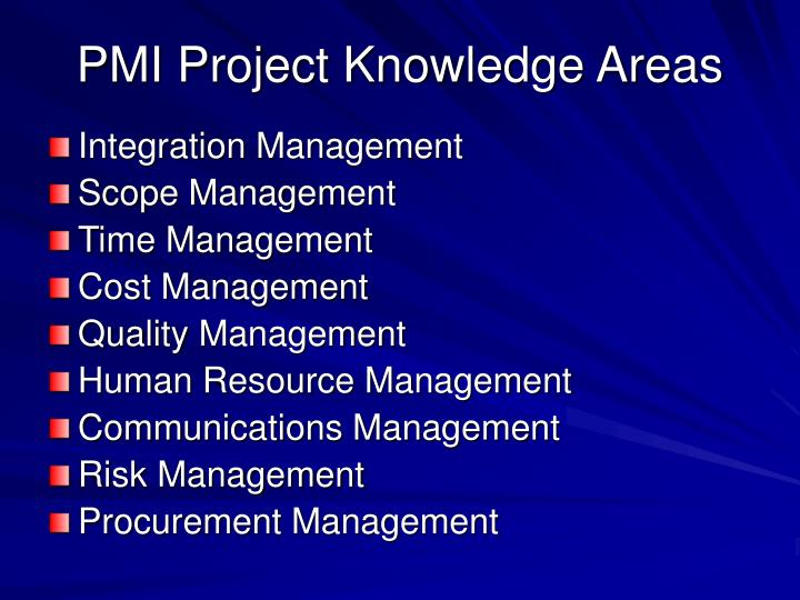 PMI Project Knowledge Areas