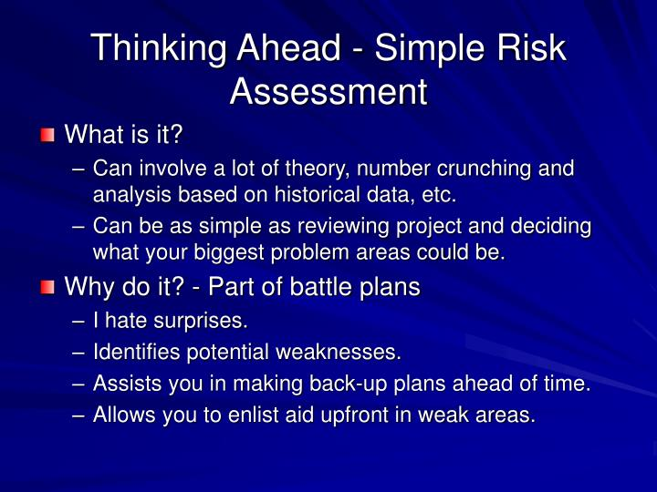 Thinking Ahead - Simple Risk Assessment