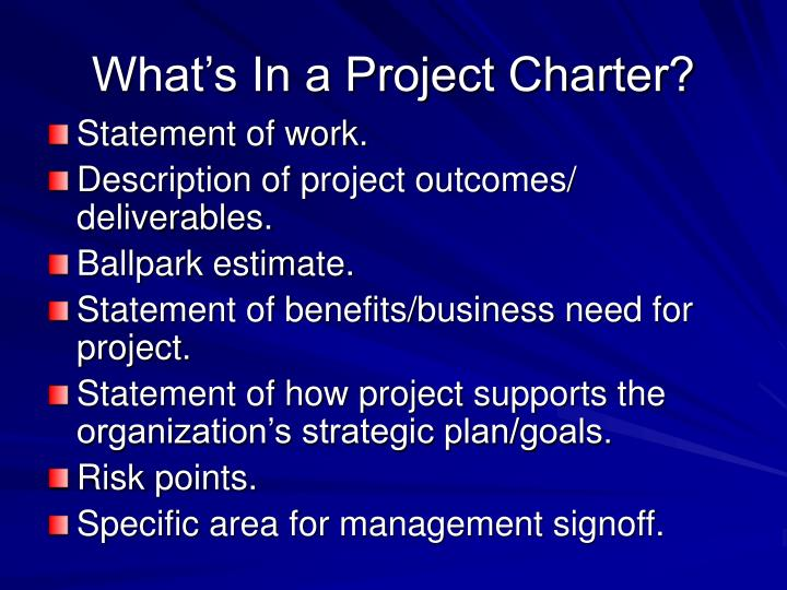What's In a Project Charter?