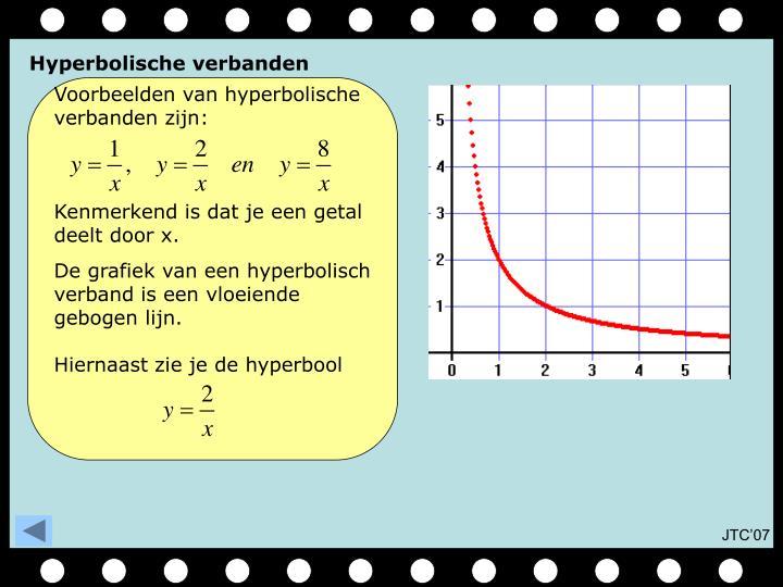 Voorbeelden van hyperbolische verbanden zijn: