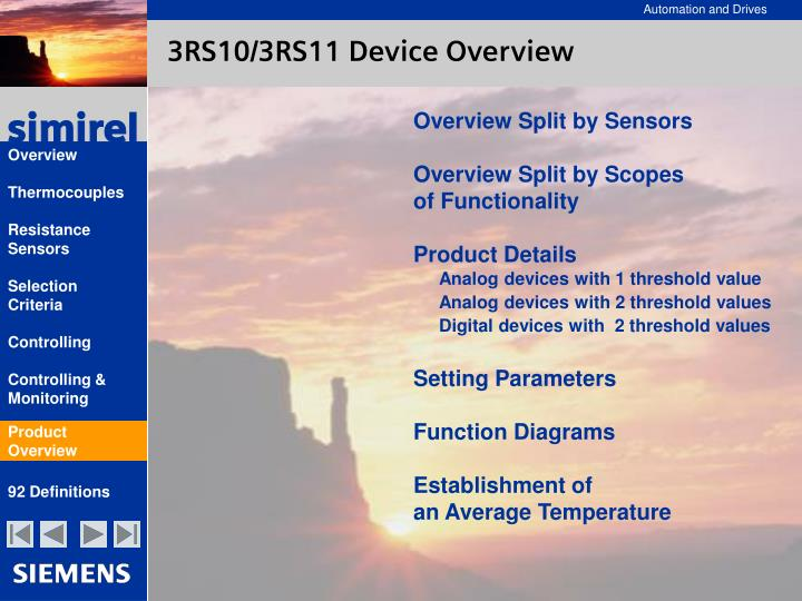 3RS10/3RS11 Device Overview