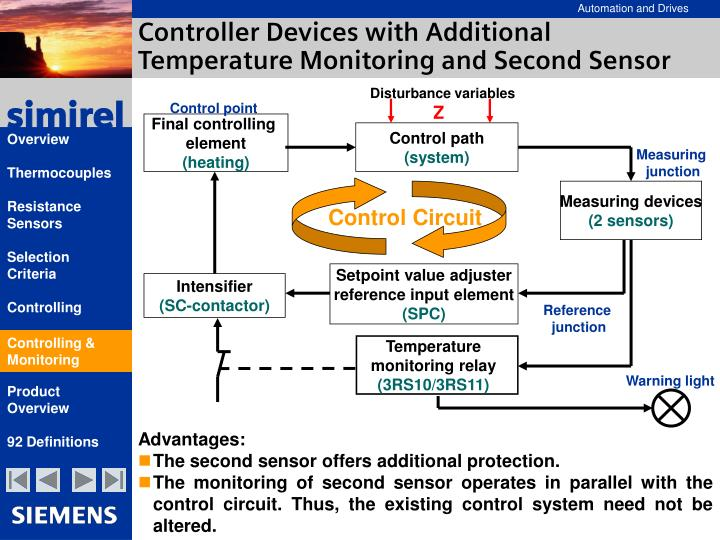 Controller Devices with Additional Temperature Monitoring and Second Sensor