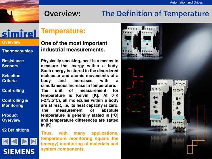 Overview the definition of temperature