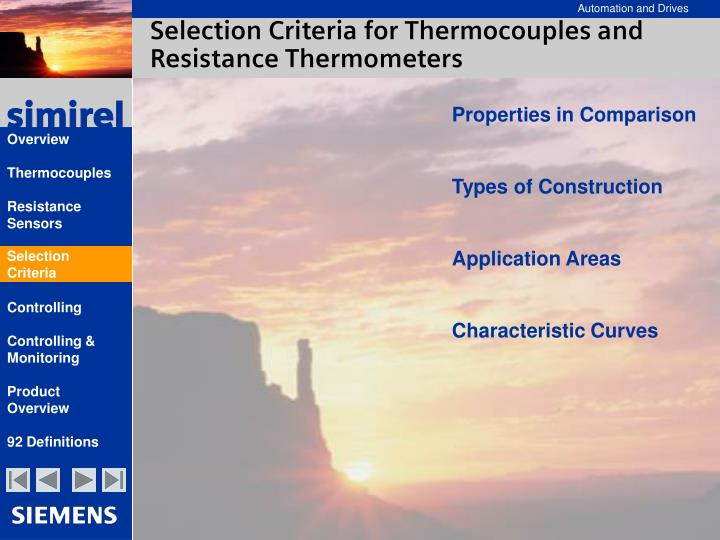 Selection Criteria for Thermocouples and Resistance Thermometers