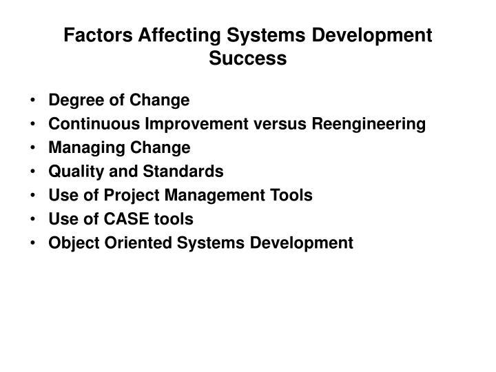 Factors Affecting Systems Development Success