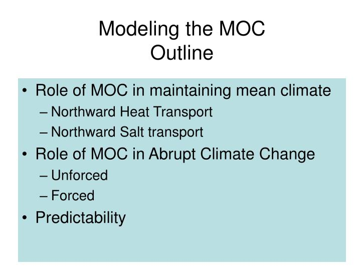 Modeling the moc outline
