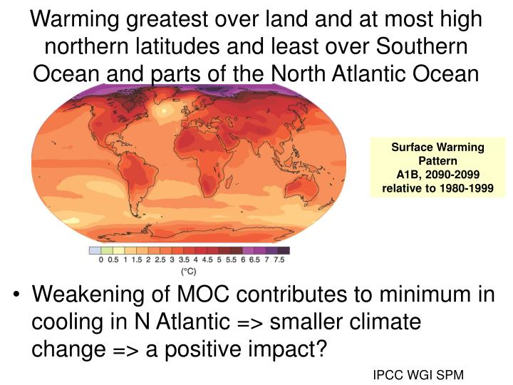 Warming greatest over land and at most high northern latitudes and least over Southern Ocean and parts of the North Atlantic Ocean