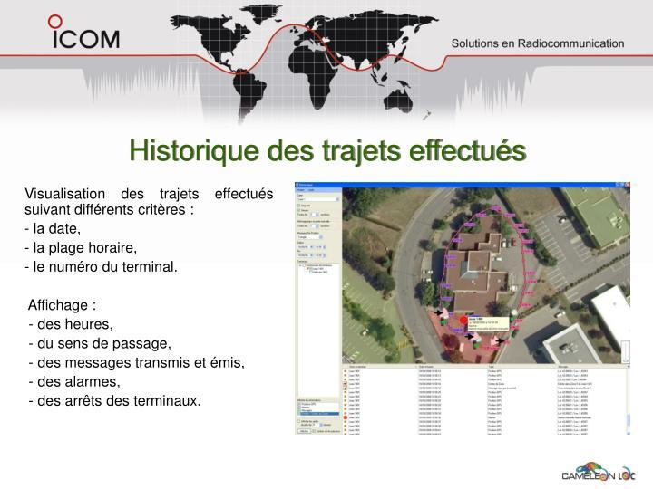 Historique des trajets effectués
