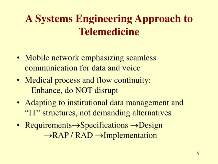 A Systems Engineering Approach to Telemedicine