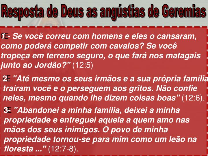 Resposta de Deus as angústias de Geremias