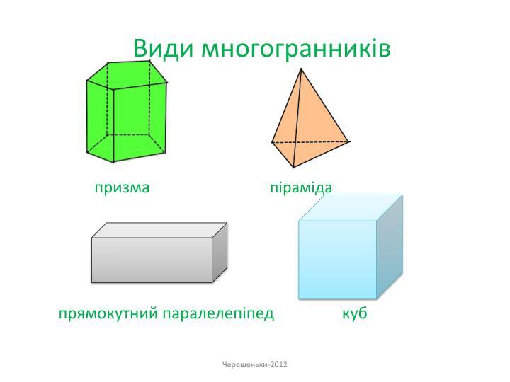 Види многогранників