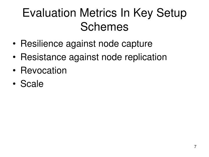 Evaluation Metrics In Key Setup Schemes