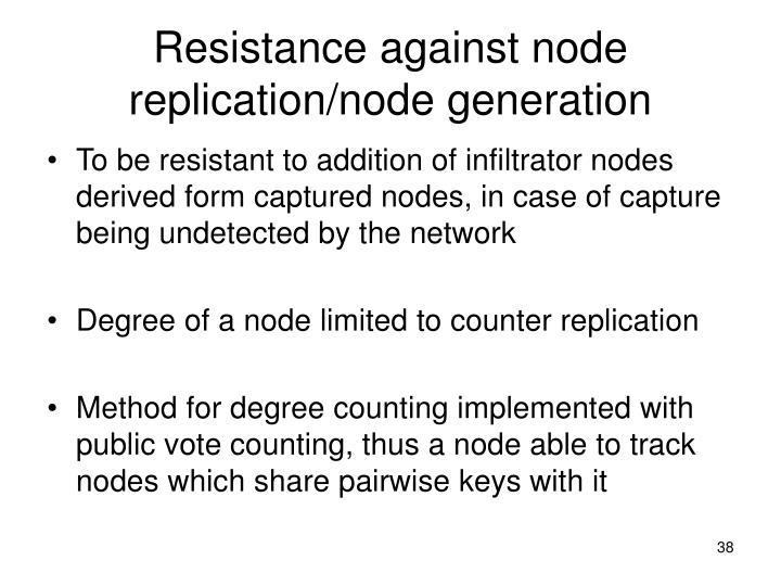 Resistance against node replication/node generation