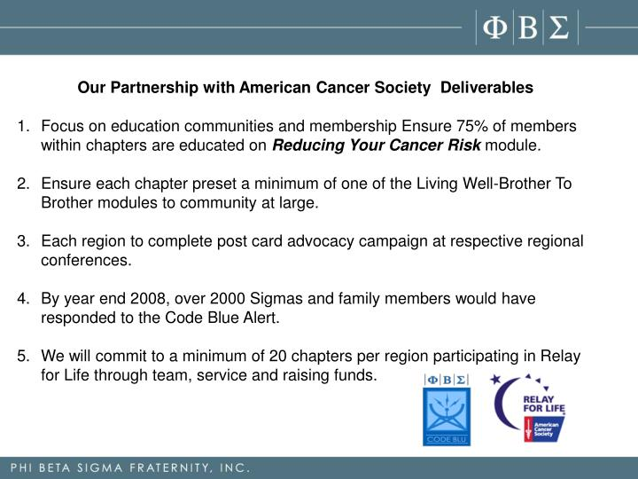 Our Partnership with American Cancer SocietyDeliverables