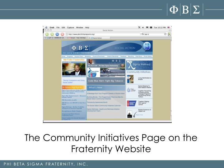 The Community Initiatives Page on the Fraternity Website