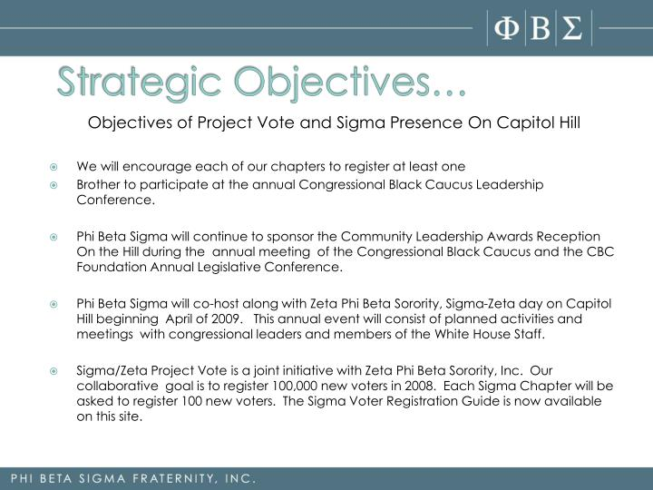 Strategic Objectives…