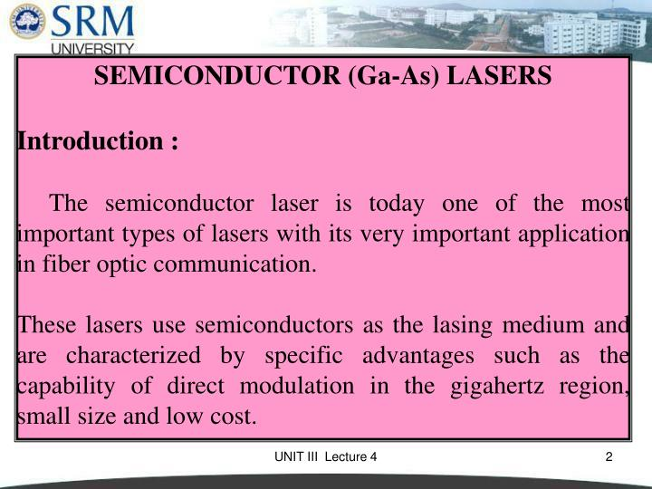 SEMICONDUCTOR (Ga-As) LASERS