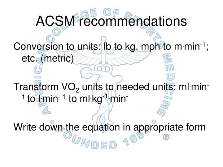 ACSM recommendations