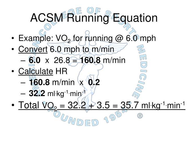 ACSM Running Equation