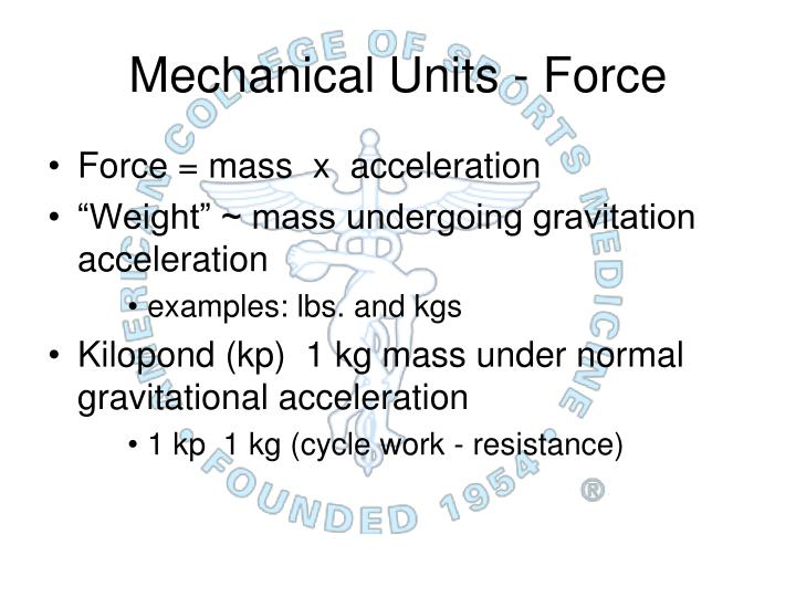 Mechanical Units -