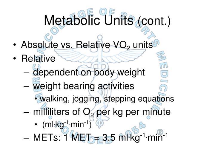 Metabolic Units