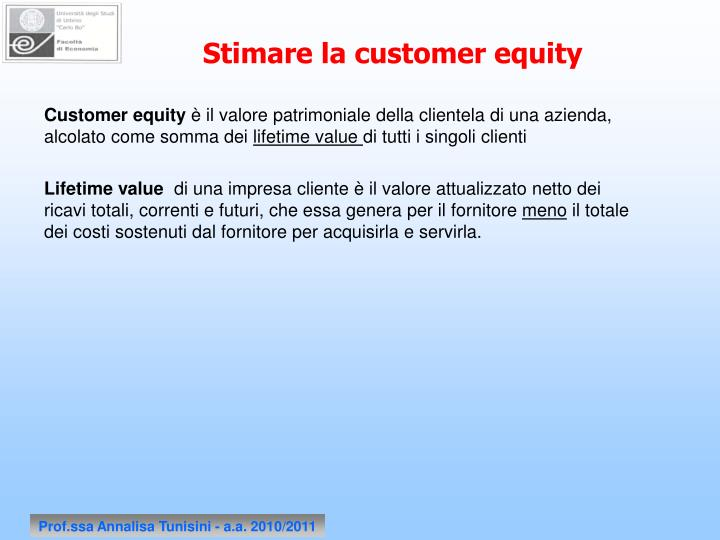 Stimare la customer equity