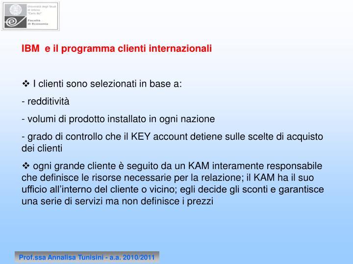 IBM  e il programma clienti internazionali