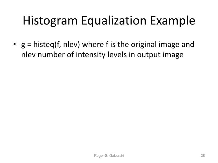 Histogram Equalization Example