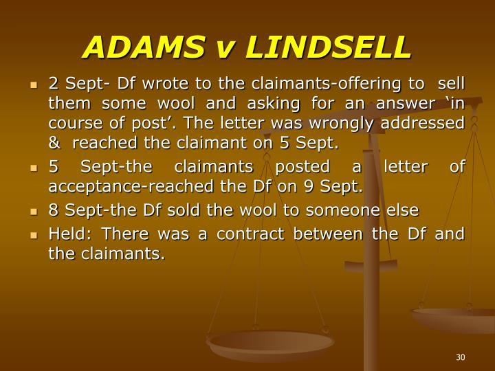 ADAMS v LINDSELL