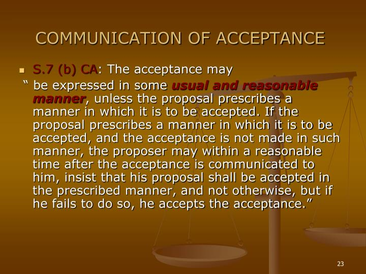 COMMUNICATION OF ACCEPTANCE