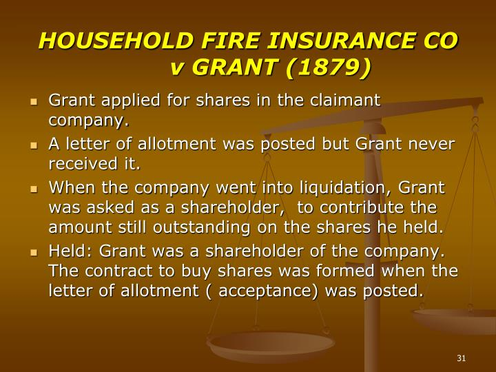 HOUSEHOLD FIRE INSURANCE CO v GRANT (1879)