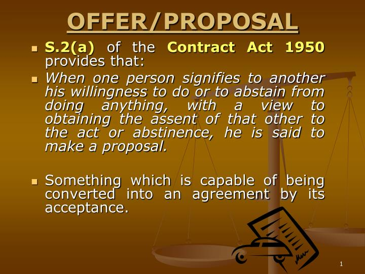 Offer proposal