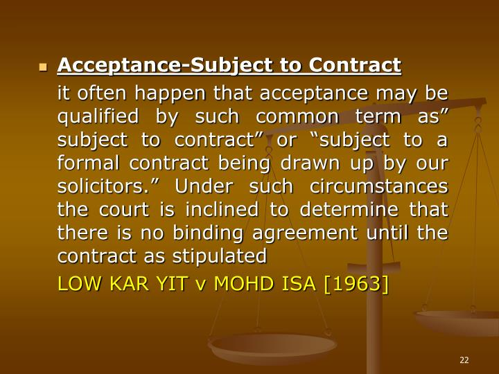 Acceptance-Subject to Contract