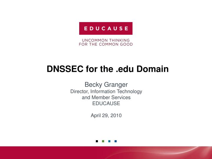Dnssec for the edu domain