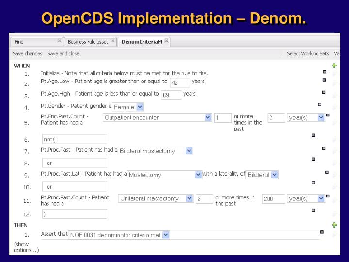 OpenCDS Implementation – Denom.