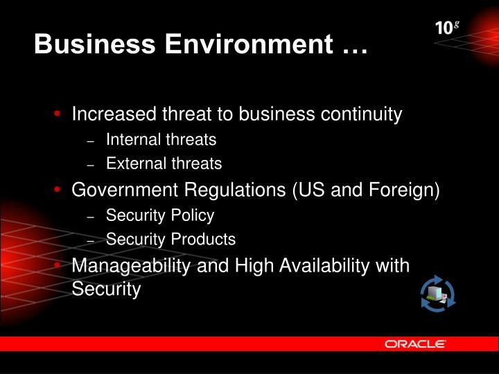 Business Environment …