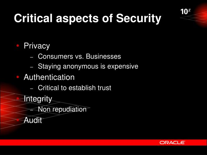 Critical aspects of Security