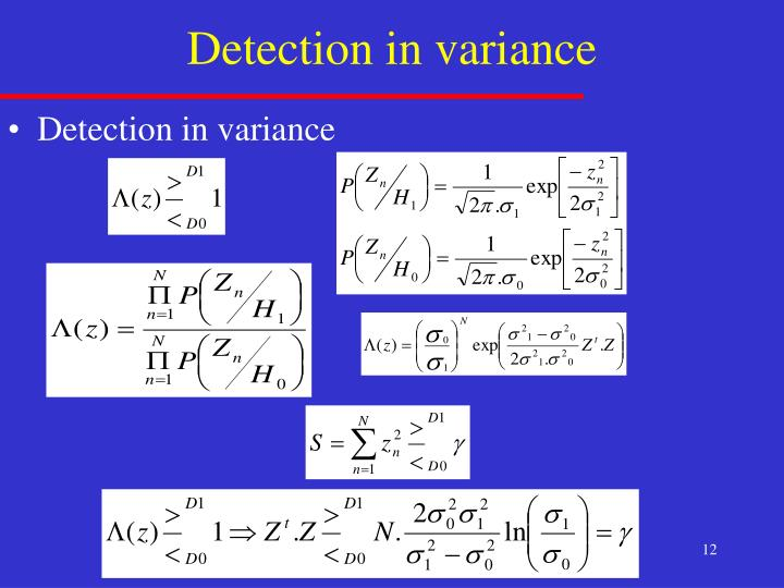Detection in variance