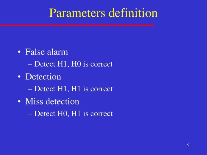 Parameters definition
