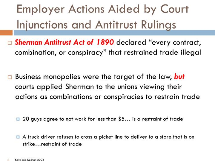 Employer Actions Aided by Court Injunctions and Antitrust Rulings