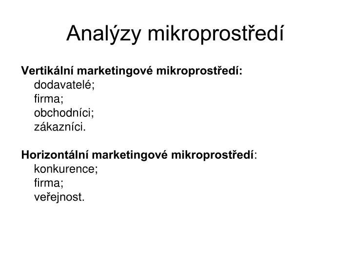 Analýzy mikroprostředí