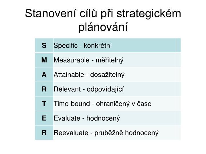 Stanovení cílů při strategickém plánování