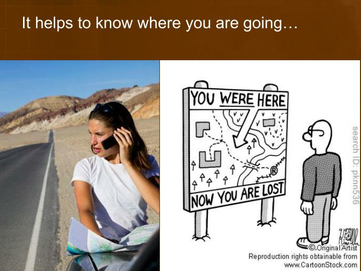 It helps to know where you are going…