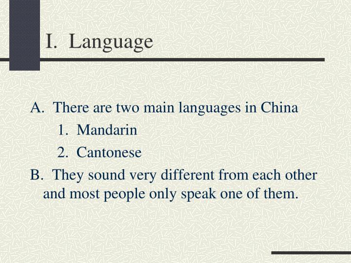 I.  Language
