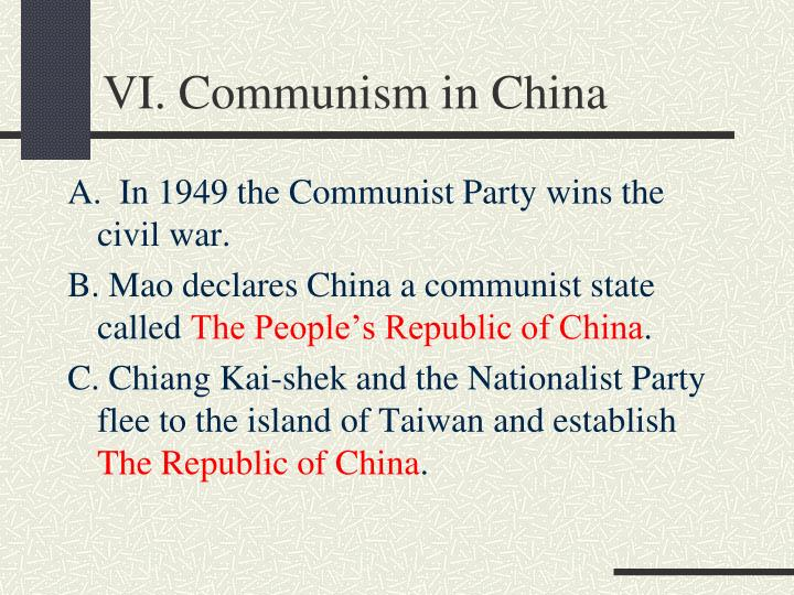 VI. Communism in China